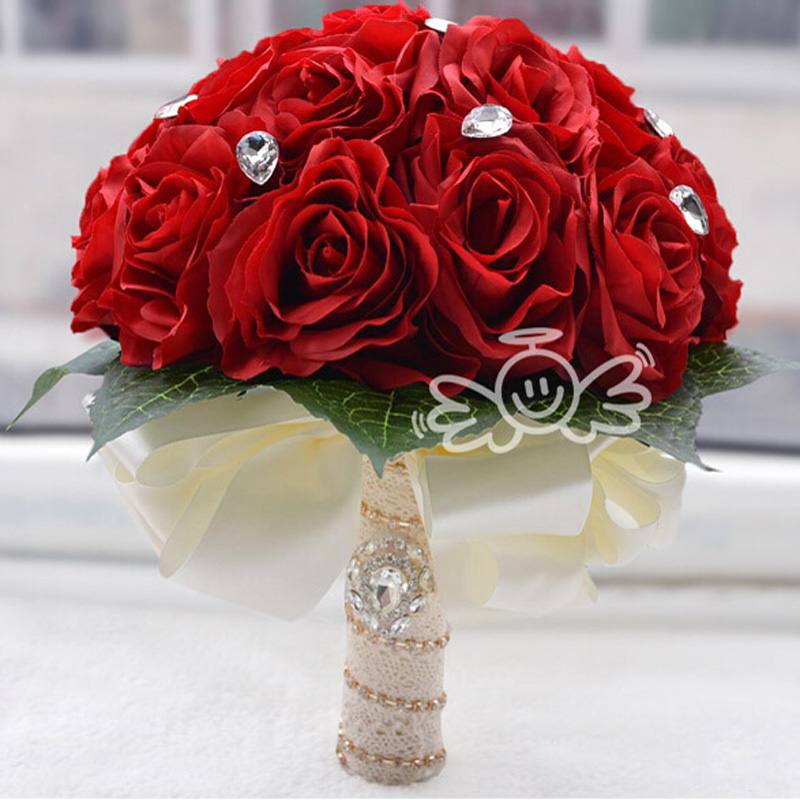 red rose bridal bouquet promotionshop for promotional red rose, Natural flower