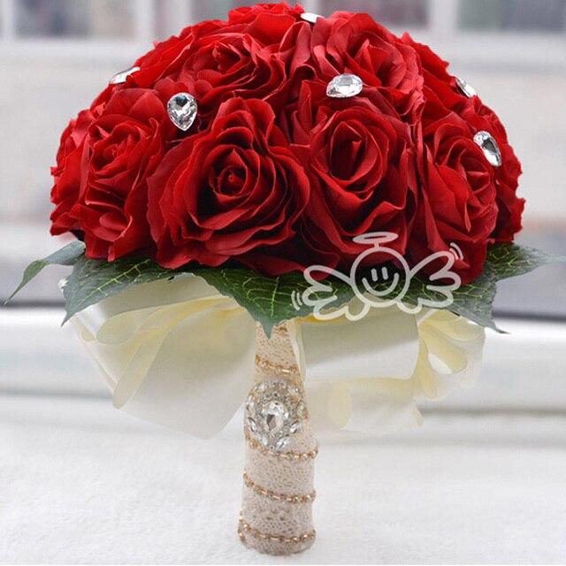 Hermoso rojoBlancoRosa artificial Rose ramo de novia en stock