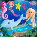 29 см Фэнтези Русалка Кукла Мода Членистые Ocean Princess Кукла Дельфин, Морские коньки Костюм Оригинальный Дизайн Детские Игрушки для Девочек подарок
