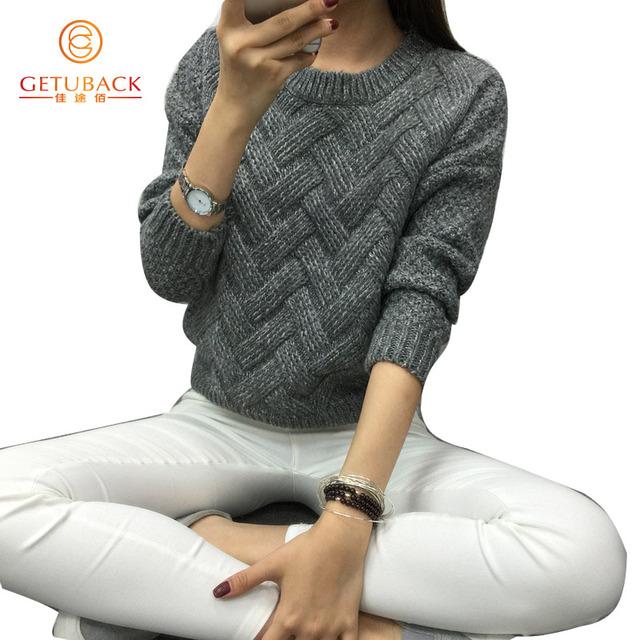 Moda feminina 2016 primavera blusas básicas casual Pulôver de tricô inverno KB911