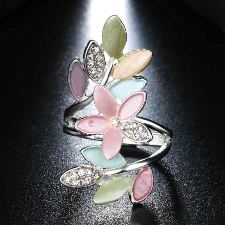 2017 Nye trendy flerfarvede emalje ringer til kvinder Crystal bryllup - Mode smykker - Foto 3