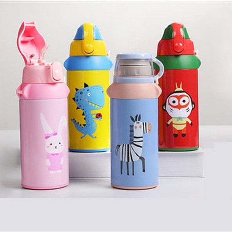 Tasse avec paille d'isolation pour enfants en acier inoxydable bouilloire incassable élèves maternelle hommes et femmes bébé tasse
