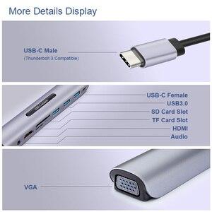 Image 2 - USB C Dock תחנת thunderbolt 3 סוג c כדי HDMI VGA USB TF SD כרטיס עם 3.5 AUX אודיו שקע HD ממיר מתאם עבור Macbook pro