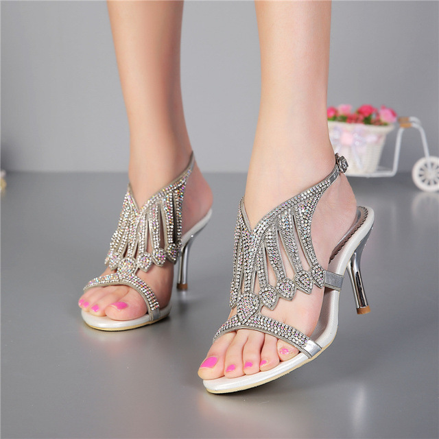 New 2017 summer diamond high heeled stiletto heel sandals ...