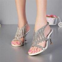 Nuevo 2017 verano de tacón alto del diamante sandalias de tacón de aguja rhinestone cómodo banquete de las mujeres zapatos de boda de plata tamaño 11