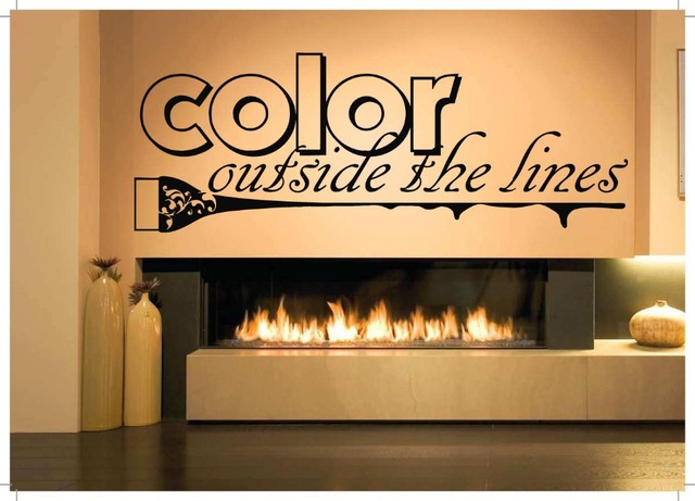 Hair Salon Vinyl Decal Barber Shop Beauty Color Outside The Lines Lettering Quote Mural Wall