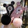 Moda de luxo chapeamento caso tpu macio para iphone 6 6 s 7 plus 3D Bling Glitter Lantejoulas ouvido Mickey Mouse bola de pêlo de coelho Tampa Traseira