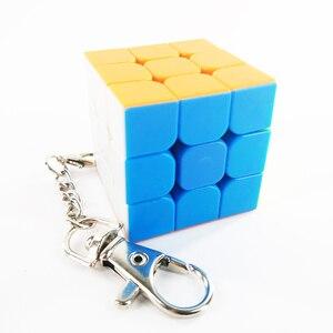 Image 5 - سلسلة مفاتيح صغيرة لعبة ألغاز المكعب السحري 2x2x2 3x3x3 أسطوانة ثلاثية السطوح لعبة تعليمية للأطفال