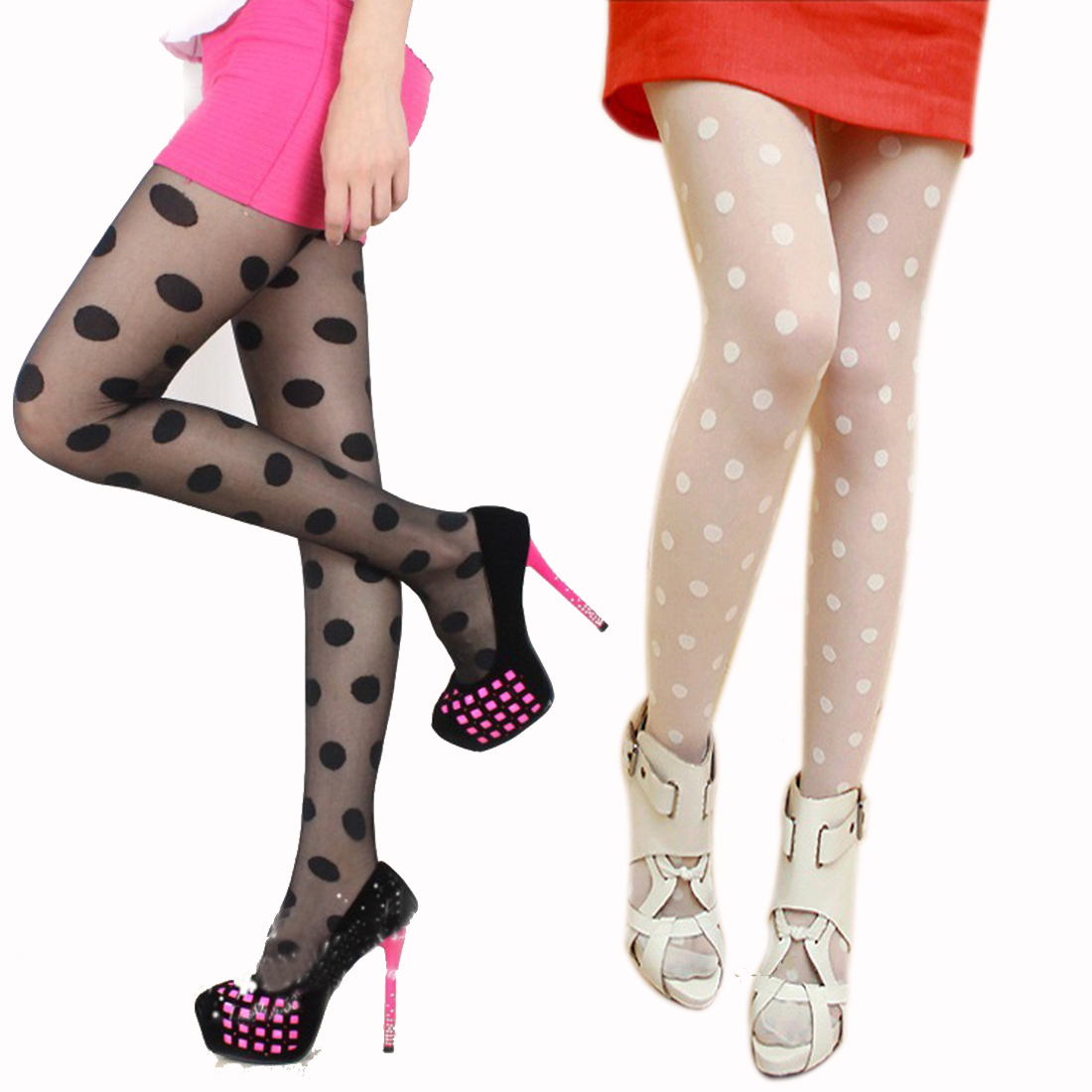 Hot Fashion 1PC Women Sexy Tights Pantyhose Sheer Lace Big Dot Pantyhose Stockings Tights Entirely Seamless Collants