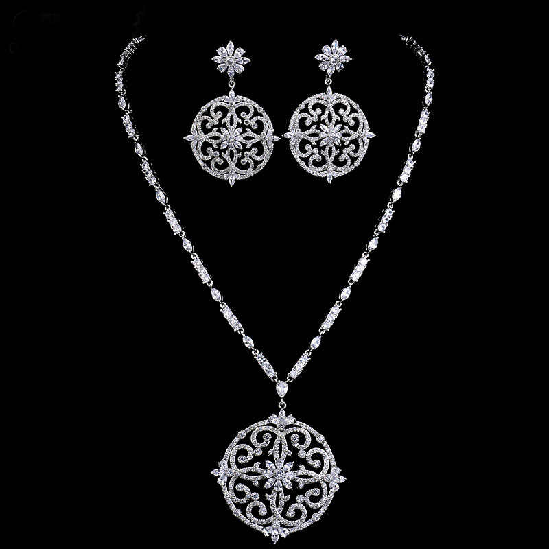 New luxury bridal jewelry set white gold colour AAA cubic zircon big flower vintage wedding jewelry set Christmas gift