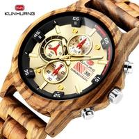 KUNHUANG Wooden Watch Male Fully Functional Chronograph Wood Quartz Men Watches Waterproof SportsWristwatch Relogio Masculino