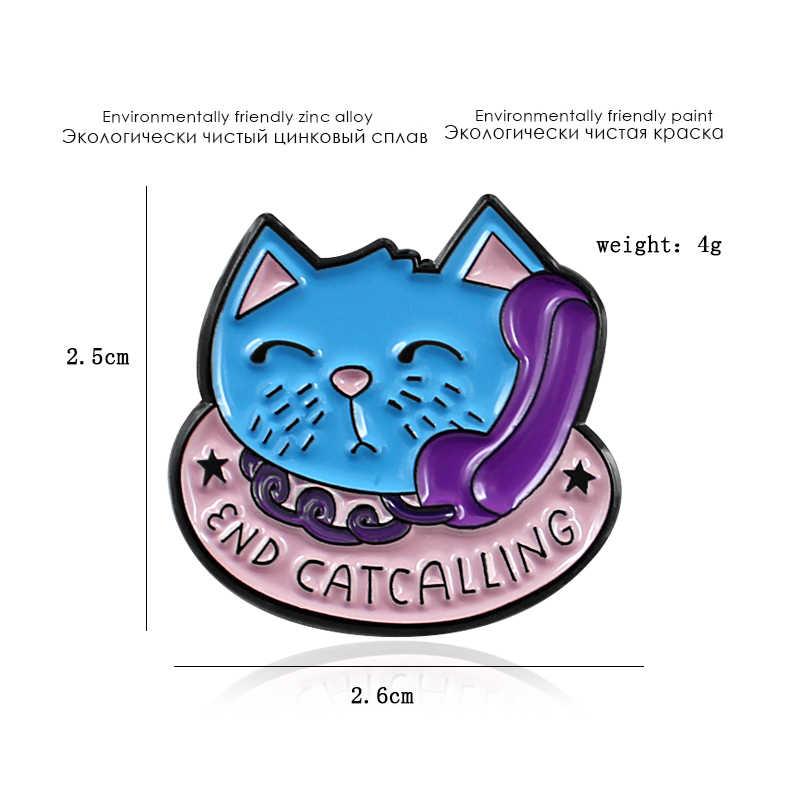FINAL CATCALLING Azul Broche de Gato Gatinho Telefone Amigos Esmalte Pin T-Shirt Camisola Crachá Animais Amantes do animal de Estimação Da Família Da Criança Presentes Do Punk