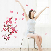 wholesale beautiful sakura wall stickers living bedroom decorations 739. diy flowers pvc home decals mural arts poster 3.5