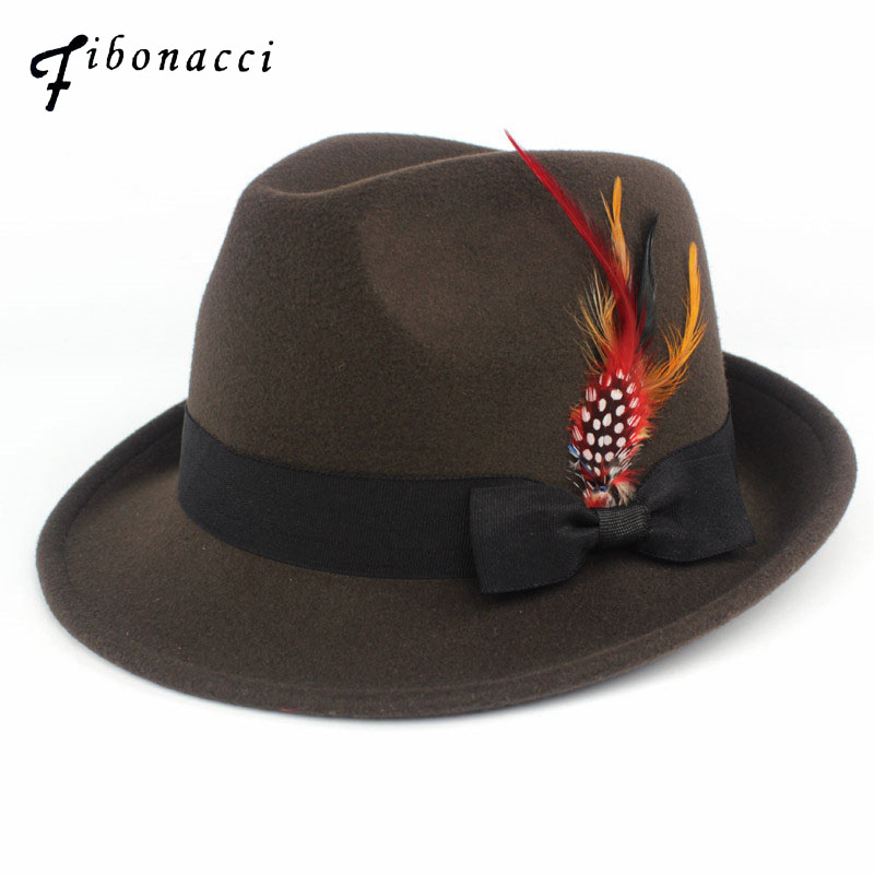 625e7a662c575e Detail Feedback Questions about Fibonacci 2018 New Imitation Wool Feather  Fedoras Hats for Women Men Manhattan Structured Gangster Trilby Bowler Jazz  Hat on ...