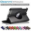 360 caja de cuero giratoria de la pu para samsung galaxy tab 2 7.0 pulgadas con la función del soporte para Samsung SM-P3100 SM-P3110 Tablet cubierta