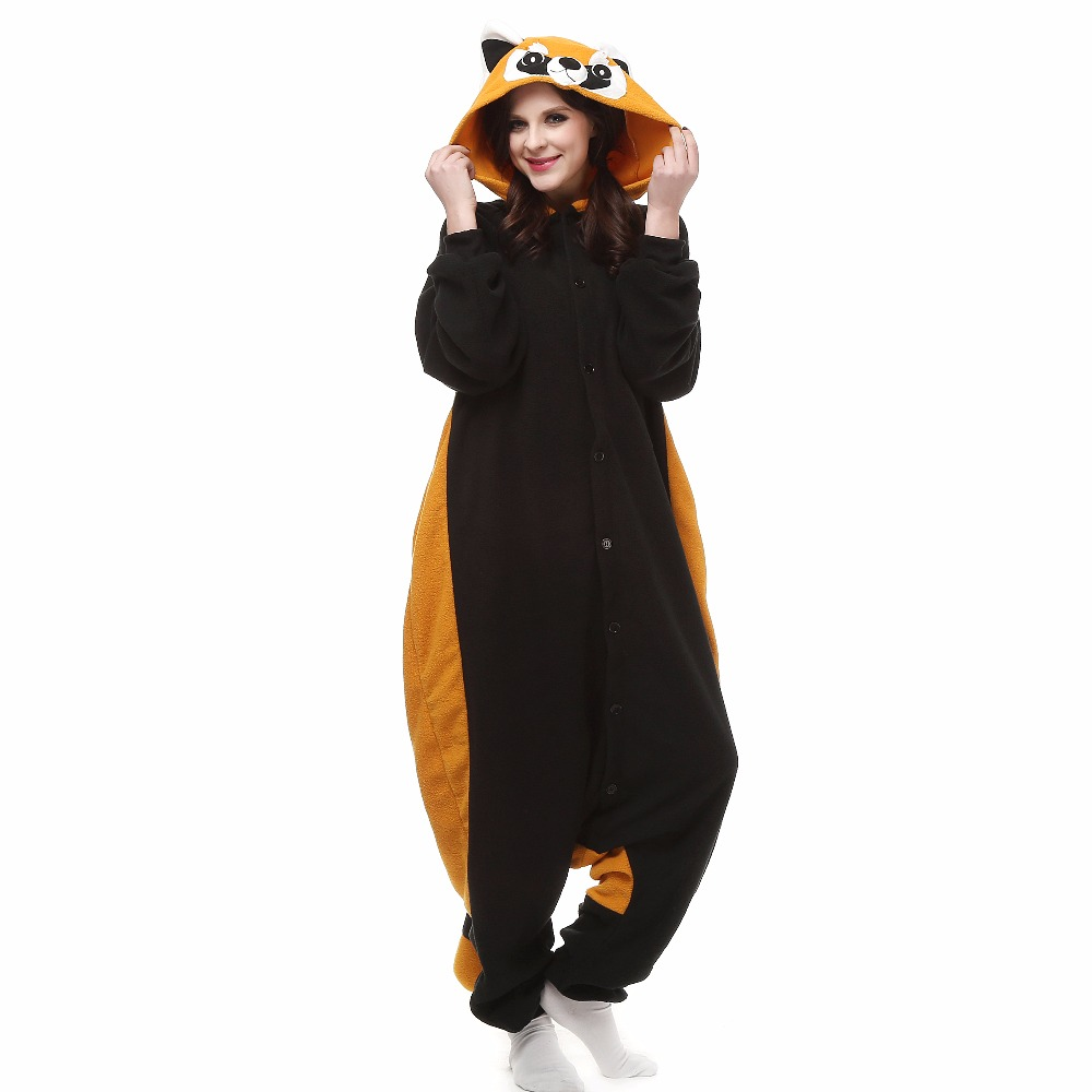 Christmas Halloween Birthday Gift Raccoon Fleece Onesie Homewear Hoodie Pajamas Sleepwear Robe For Adults