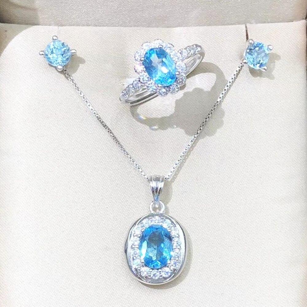 2019 Neuer Stil Oval Anhänger Halskette Halo Ring Stud Ohrringe 3 Teile/satz Frau Dame Trendy Schmuck Natürliche Echt Blau Topas Edelstein Kristall Juwelen
