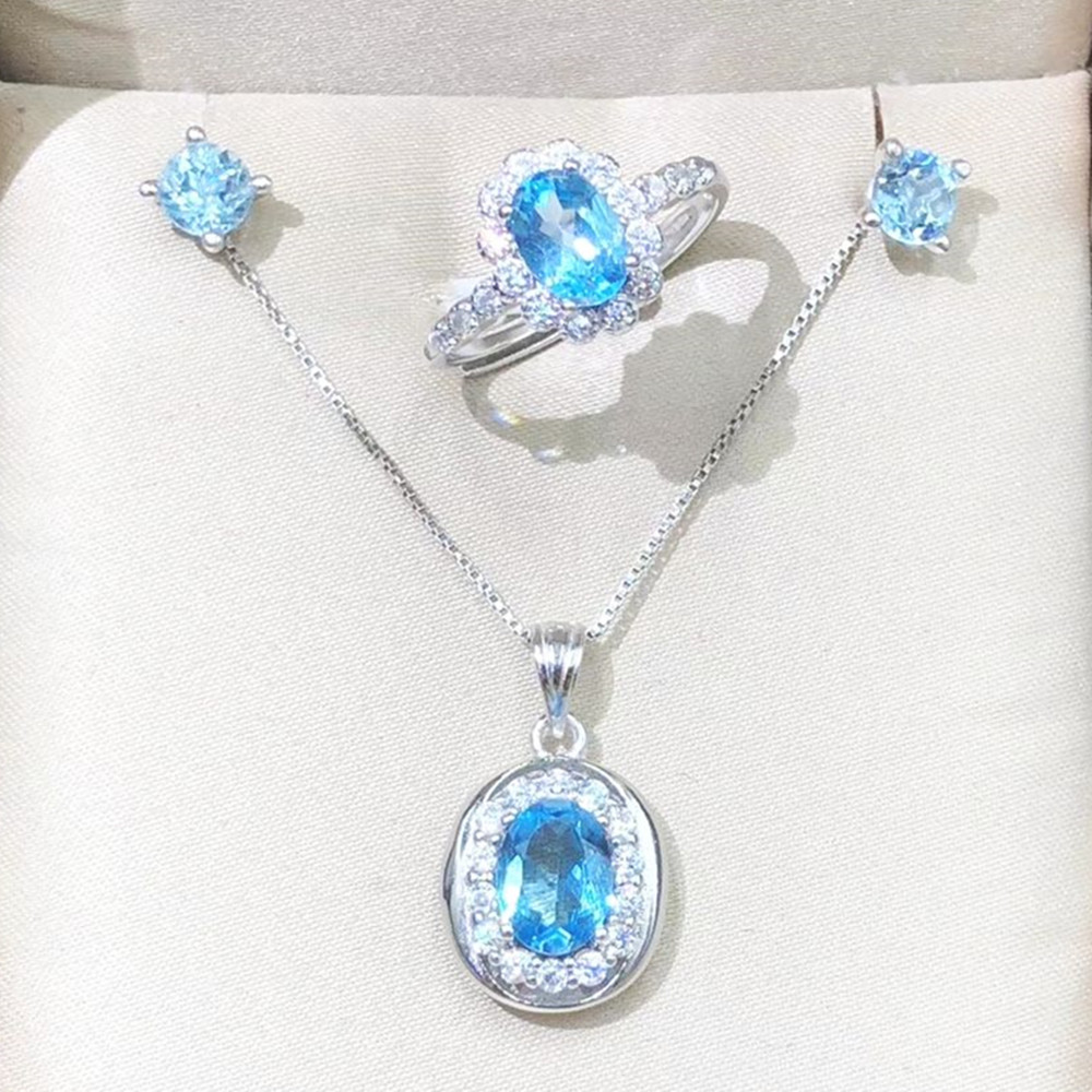 Oval Pendant Necklace Halo Ring Stud Earrings 3pcs/Set Woman Lady Trendy Jewelry Natural Real Blue Topaz Gemstone Crystal Jewels