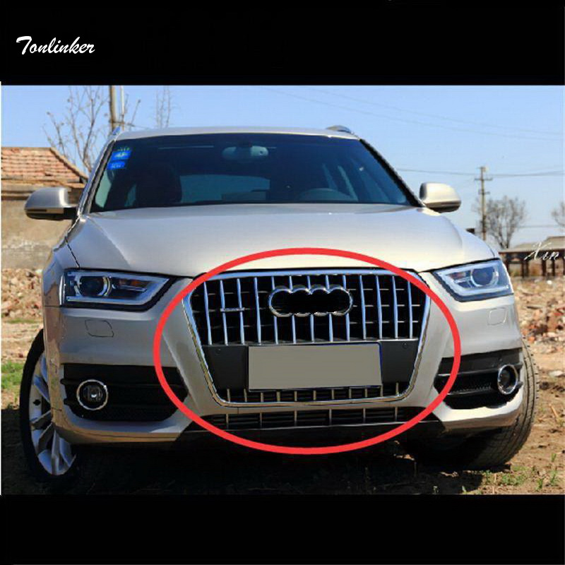 Tonlinker 29-31 PCS DIY Car Styling Stainless Steel Front Grille Light Strip Cover Case Stickers for AUDI Q3 2013 Accessories bjmycyy 2 pcs car styling stainless steel small speaker circle patch stickers cover casw for chevrolet trax 2014 accessories