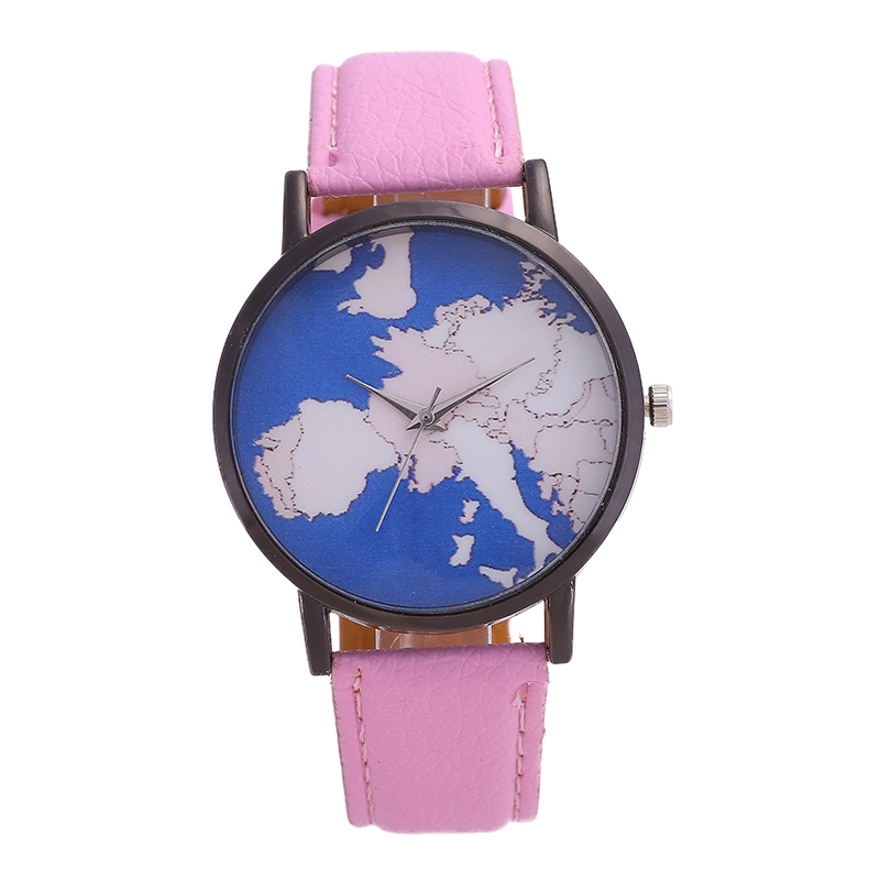 Fashions Brand Men's Watch World Map Stainless Steel Dial Pointer Dial Solid Color Fashion Student Watch For Women