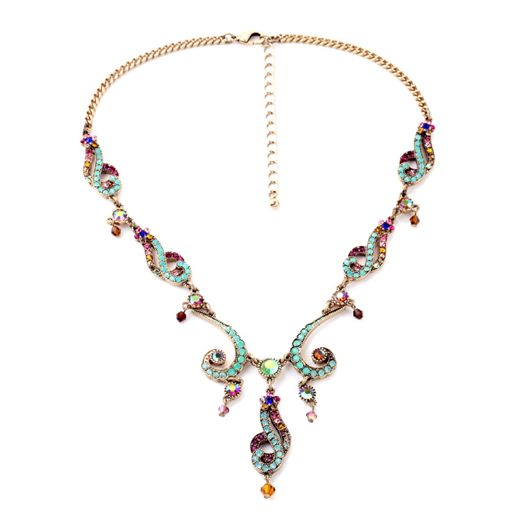 Personality Design Peacock Statement Jewelry Necklaces & Pendants Vintage Flower Colorful Charms Chunky Choker Necklace Collar