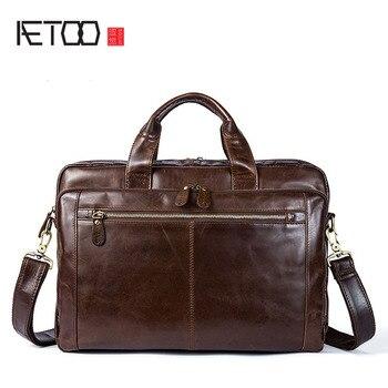 AETOO Men's Baotou leather briefcase retro men's handbag leather multi-purpose business bag