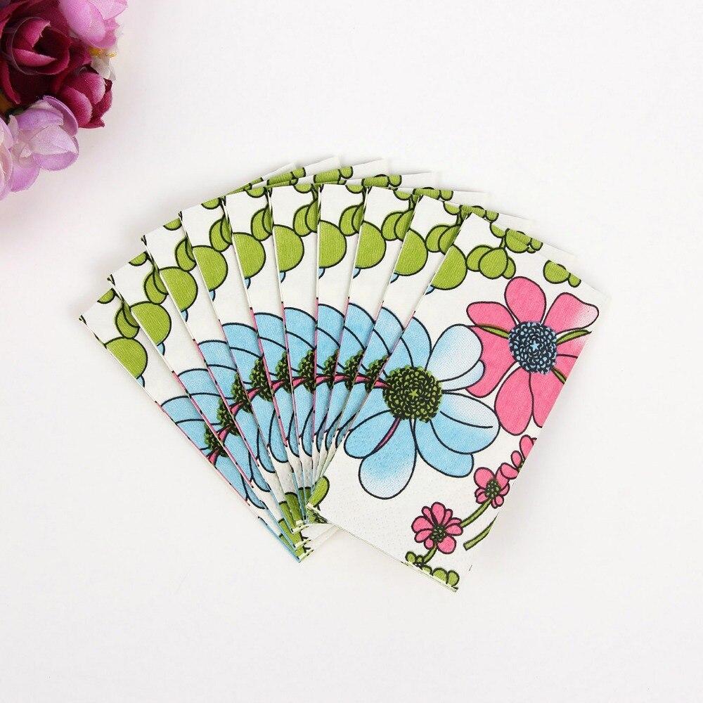 New Food grade personalized desgin small toilet tissue napkin paper printed flower handkerchief wedding serviette birthday party