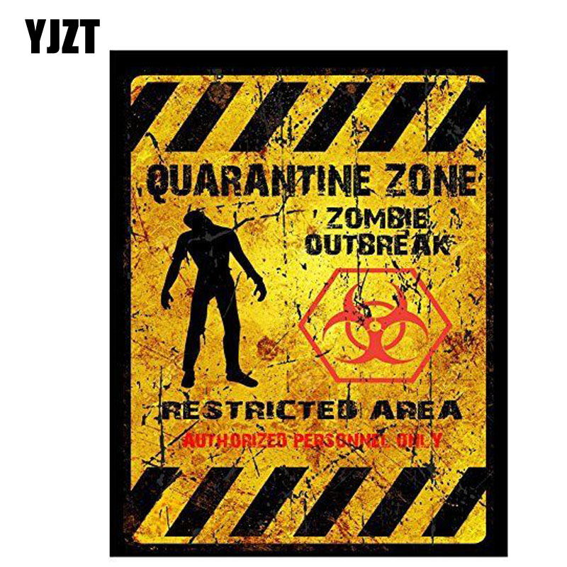YJZT 8.7CM*11CM Car Styling Funny QUARANTINE ZONE ZOMBIE OUTBREAK Car Sticker Reflective Decal C1-7520