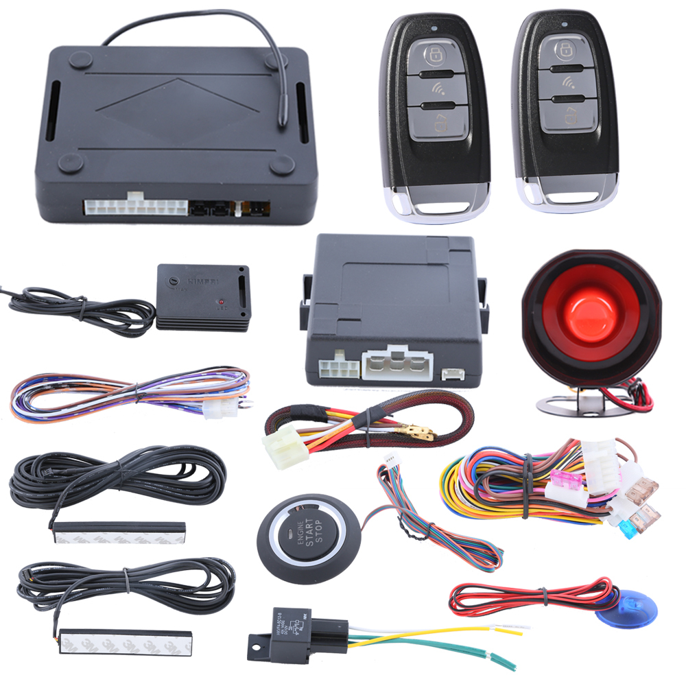 Smart Key PKE car security alarm system with passive keyless entry push start stop automatic owner identify power window output automatic window close pke car alarm system with auto start passive keyless entry remote trunk release push button start stop