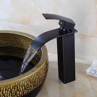 Banheiro Cachoeira Torneira Da Bacia Torneira Óleo Preto Escovado Vessel Sink Faucet de Bronze Vanity Mixer Fria E Água Quente Da Torneira Deck montar