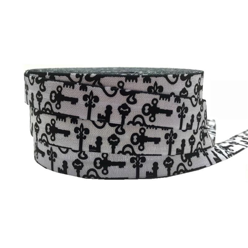 10 yard 5/8 Lock Print Fold Over Elastic White FOE Ribbon Webbing for Girl Wristband Hair bow Headband Hair band Accessory
