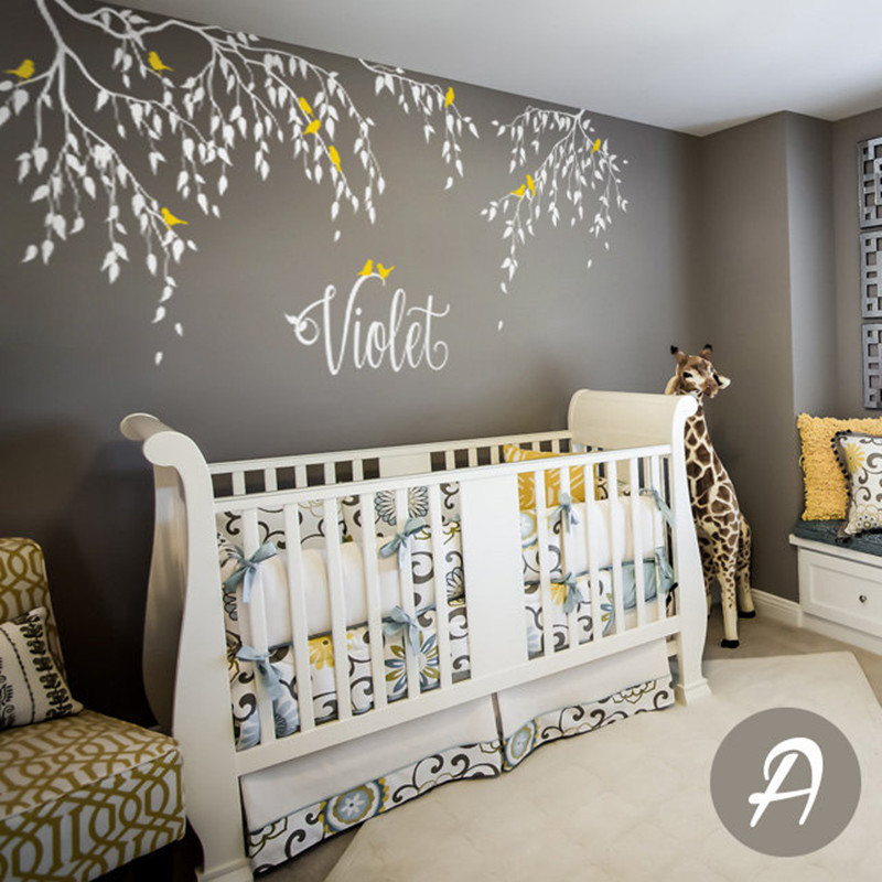 Large Tree SD 088 Nursery Tree Birds and Flying leaves decal Ideas Stick on Wall Art Decals for Walls Personalized Wall Decals