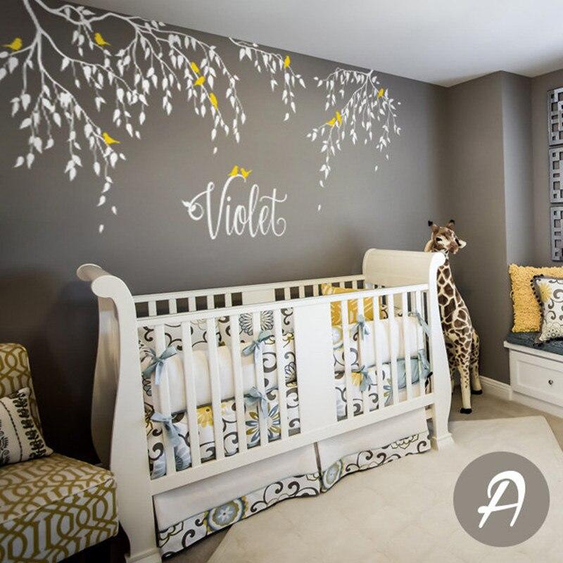 Decalques De Parede ramos Pássaros Com Nome Personalizado Árvore Crianças Quarto Da Parede do Vinil Adesivo Home Decor Folhas Caindo Criativo Mural D-305