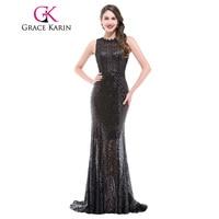 Grace Karin Luxury Bling Sparkly Mermaid Evening Gown Sequins Black Elegant Formal Evening Dresses Hollowed Back