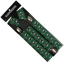 Men/Women Clothing Suspenders  Clip-on Elastic Y-Shape Adjustable Four Leaf Clover Print 3 Clip
