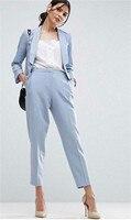 Jacket+Pants Light Blue Women Business Women Suits Formal Ladies Pant Suits Office Uniform Style Female Trouser PantSuit