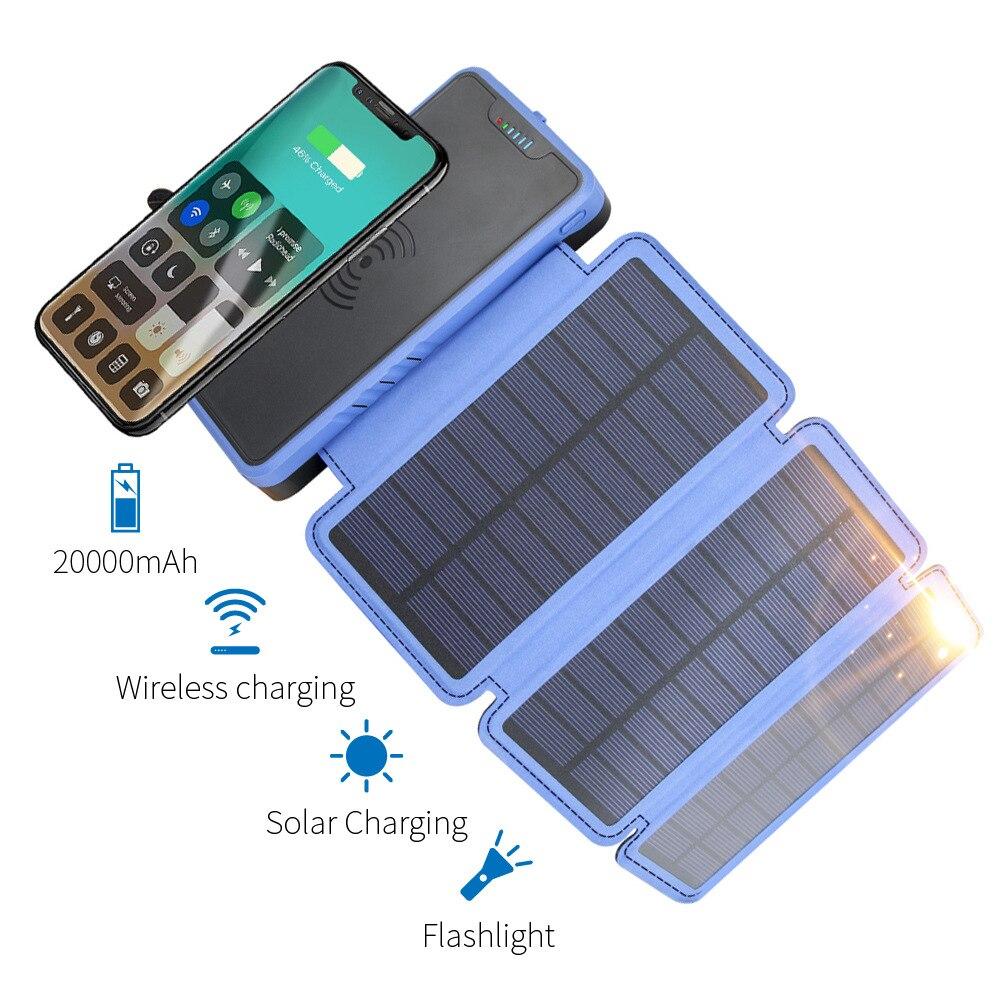 QI chargeur sans fil batterie externe 20000 mAh pour Xiaomi huawei Charge rapide 2A PowerBank LED chargeur Portable solaire batterie externe