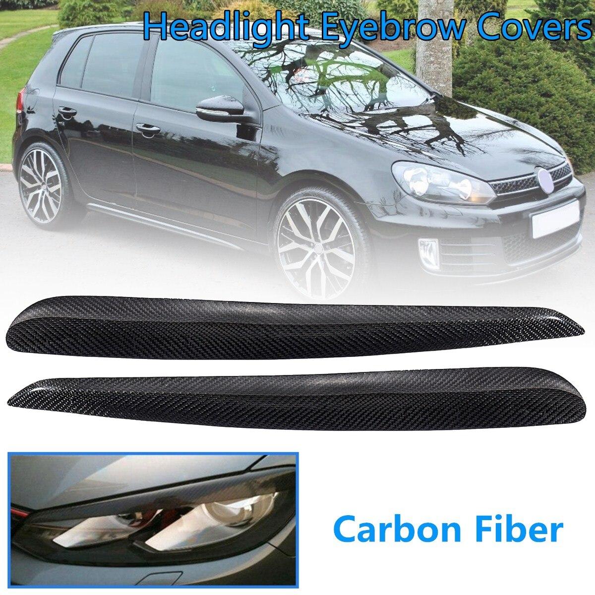 Pour VW Golf 6 R20 GTI GTD MK6 2008-2012 1 paire Réel En Fiber De Carbone Avant Phare Paupière garniture Sourcils Couvre