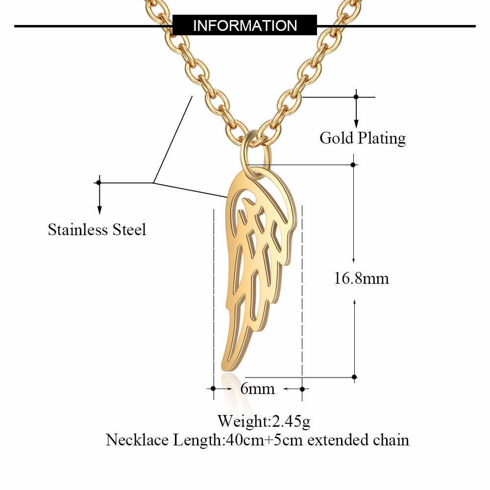 AAAAA 품질 100% 스테인레스 스틸 천사 날개 매력 목걸이 여성을위한 결코 변색 보석 목걸이 도매 특별 선물