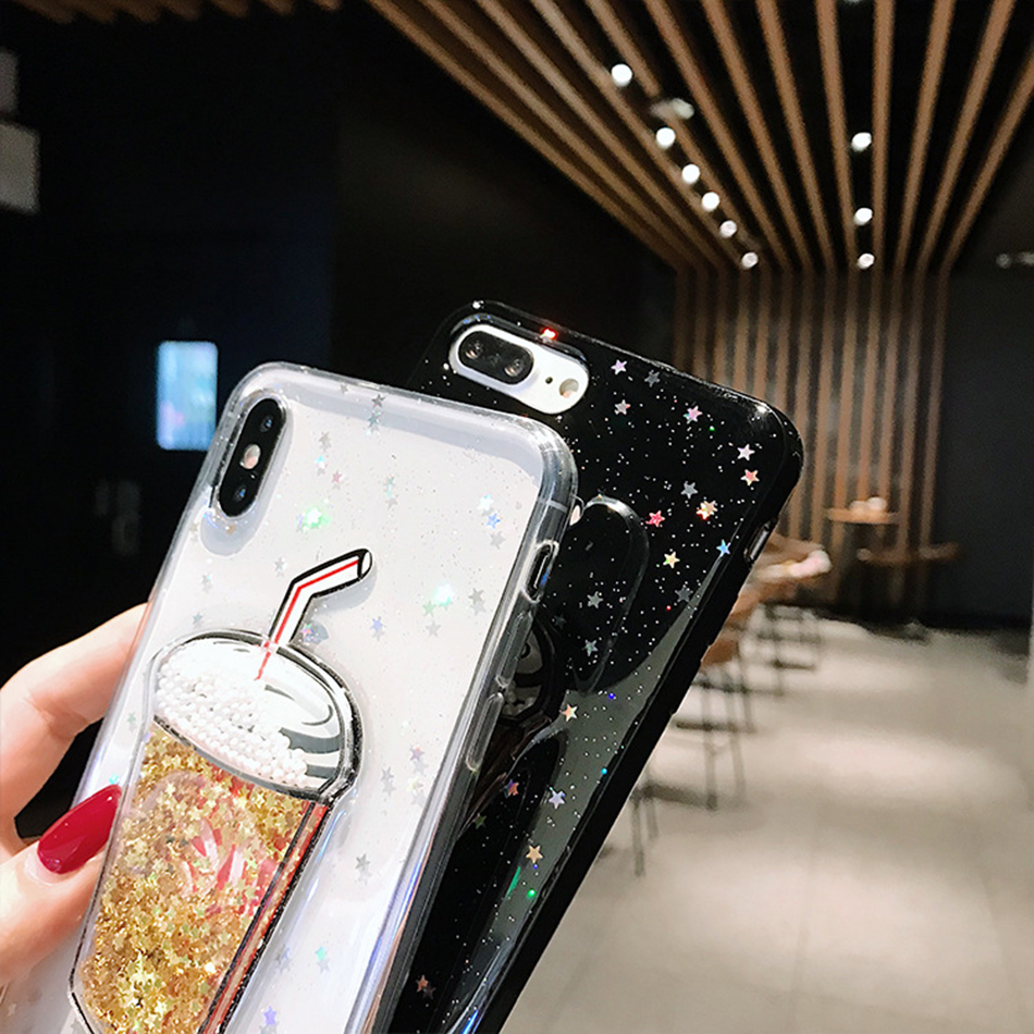 Bling Glitter Gold Stars Clear Phone Case For iPhone XS MAX XR Beverage Cup Quicksand For iPhone X 7 8 6 6s Plus Back Cover Capa in Fitted Cases from Cellphones Telecommunications