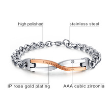 316l Stainless Steel Bracelet Bangle for Couples Wedding Jewelry Best Friend Gift