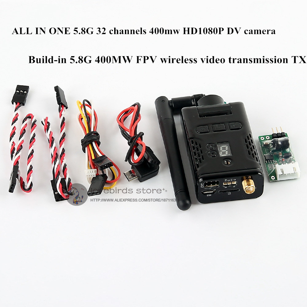 32 channels HD1080P DV camera all-in-one 5.8G 400mw TX FPV wireless video transmission for DIY racing quadcopter drones QAV250 wireless all in one for dummies®