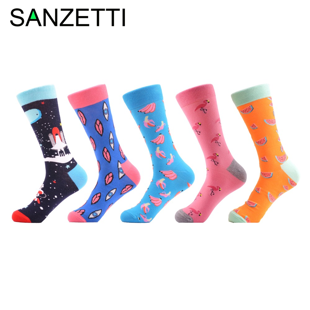 SANZETTI 5 Pairs/Lot Funny Pattern Flamingo Fruit Pattern Women's Combed Cotton Crew Colorful Happy   Socks   Novelty Wedding Gifts