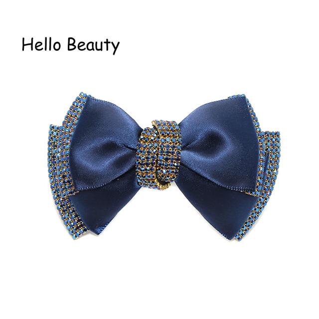 Korean Fashion Hair Jewelry Women Chic Rhinestone Hair Accessories Luxury  Hair Bow Clip French Blue Crystal efa1bdf71fa7