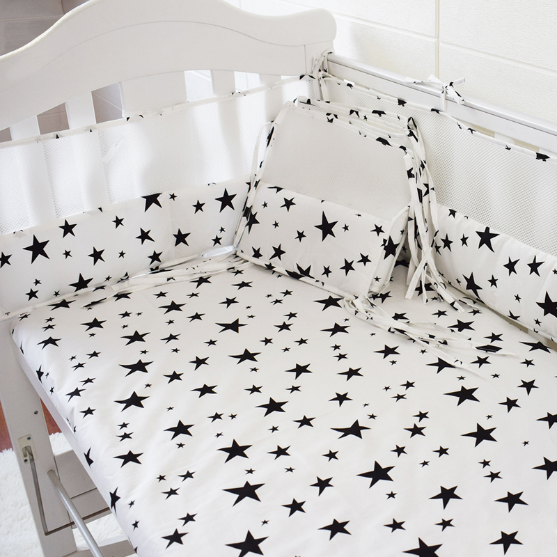 Infant Crib Cot Decor Baby Cot Bedding Set Girl Boy Crib Bedding Set Cotton Soft Sheet Bumper 5pcs Bed Safe Around Protection 5pcs baby boy crib cot bedding set bedsheet crib newborn baby bed linens for girl boy crib bed 4bumpers sheet