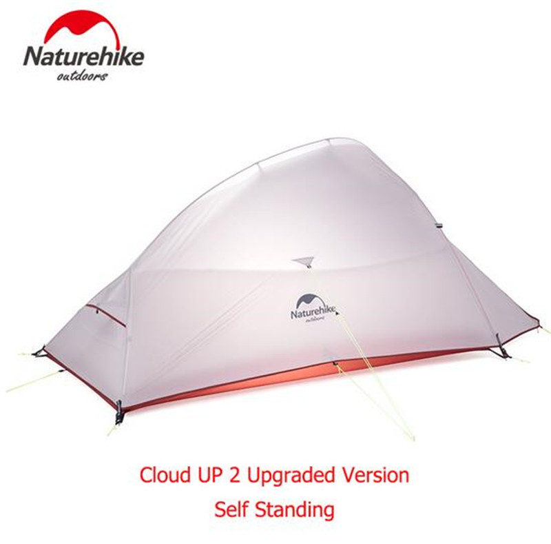 Naturehike 2 Person Camping Tent 20D Nylon Free Standing 2 Person Ultralight Camping Tent Cloud UP 2 Update high quality outdoor 2 person camping tent double layer aluminum rod ultralight tent with snow skirt oneroad windsnow 2 plus