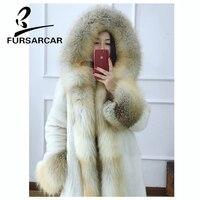 FURSARCAR 2018 New Women Real Mink Fur Coats With Fox Fur Collar And Cuff Luxury Winter Thick Warm Female Mink Fur Outwear