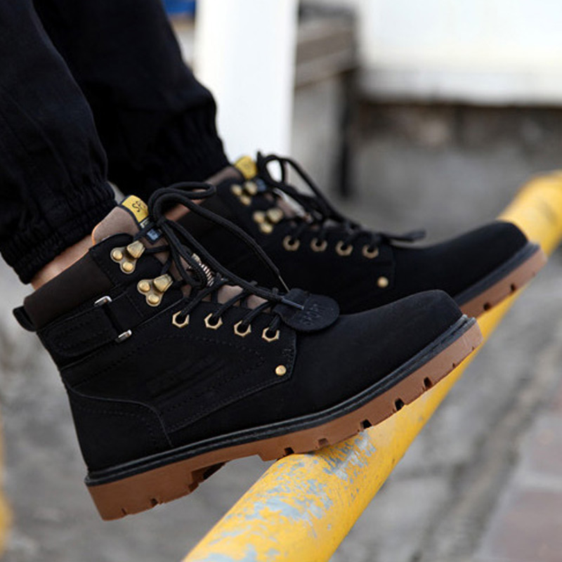 Men boots 2018 new fashion keep warm winter boots men PU leather wear resisting casual snow boots men working fashion men shoes