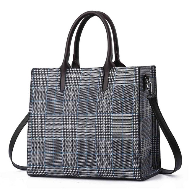 bbbaa804ee LAZYLIFE new black and white Plaid large-capacity female bags handbags  trend wild ladies handbags