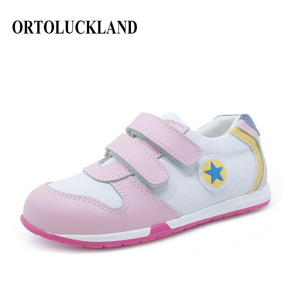 Niñas de moda zapatos de deporte de color rosa para niños zapatos ortopédicos de cuero genuino tenis zapatillas rígidas zapatos ortopédicos para niños
